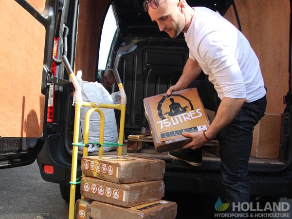 Unloading the van at Incredible AquaGarden
