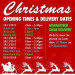 Christmas 2017 Opening Hours & Delivery Dates